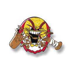 Softball with mouth open, bat bitten in half - yellow ball