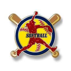 Softball girl pitching - red girl, yellow ball, black border