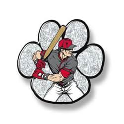 Baseball batter man - silver paw, red hat, grey shirt