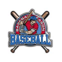 Baseball man with bat - Baseball in blue, red shirt, blue outside border