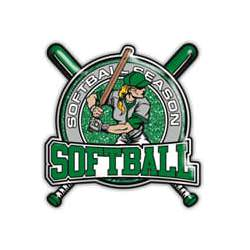 Softball girl with bat - Softball in green, grey shirt, green border