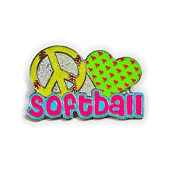 Yellow Peace sign Green Heart with 'softball' written in pink