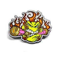 Yellow Flaming Ball chewing through bat with pink ribbon
